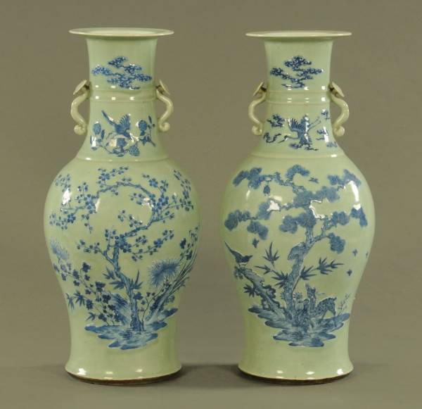 A pair of 19th century Chinese celadon vases - SOLD for £6,300