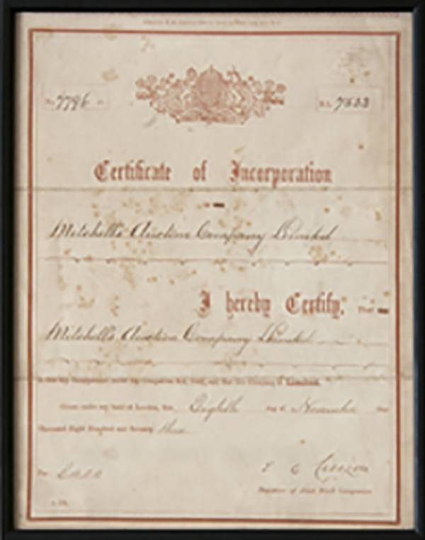 Certificate of Incorporation 1873